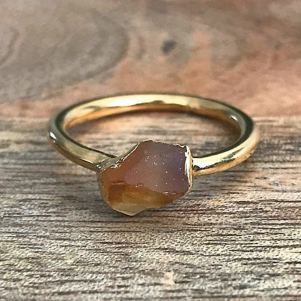 Gold Plate Citrine Stacking Ring UK M 1/2, US 6 1/2