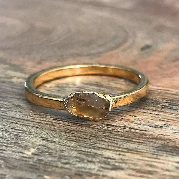 Gold Plate Citrine Stacking Ring UK N, US 6 1/2
