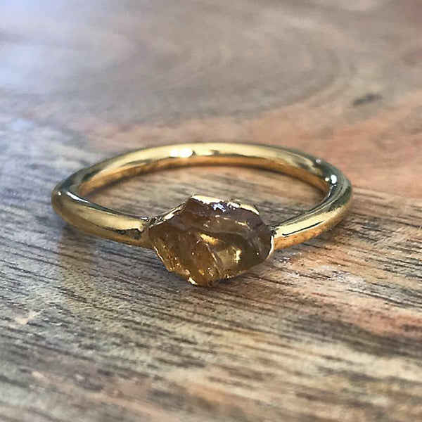 Gold Plate Citrine Stacking Ring UK O, US 7 1/4
