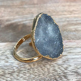 Gold plate adjustable druzy ring, UK N - P, US 6 1/4 - 7 1/2