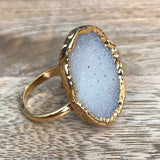 Gold plate adjustable druzy ring, UK N - Q, US 6 1/2 - 8