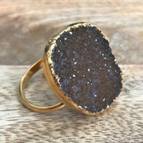 Gold plate adjustable druzy ring, UK P - S, US 7 1/2 - 9