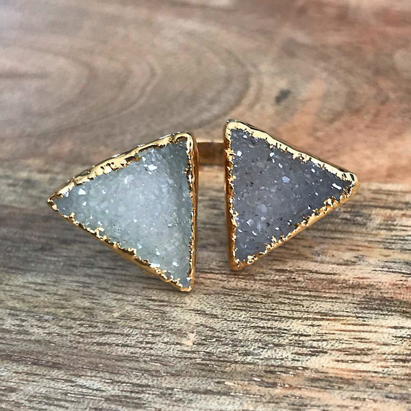 Gold plate Druzy double ring, UK Q, US 8