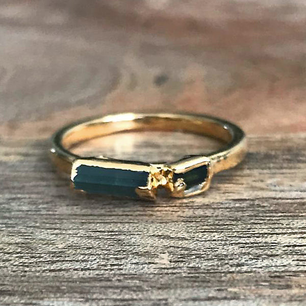 Gold Plate Emerald Stacking Ring UK K, US 5 1/4
