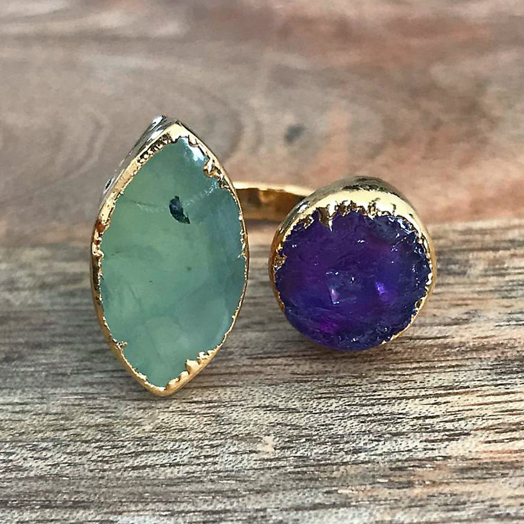 Gold plate Green Agate & Amethyst double ring, UK N, US 6 1/2