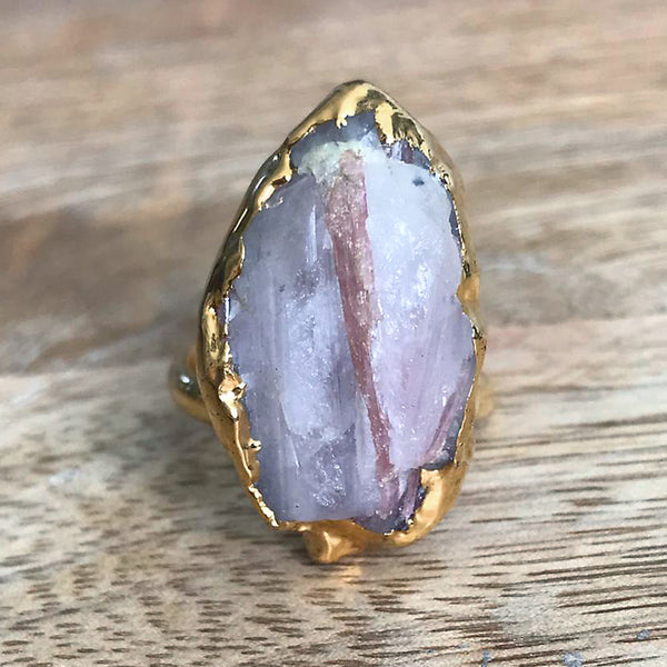 Gold plate adjustable kunzite ring, UK P - S, US 7 1/2 - 9