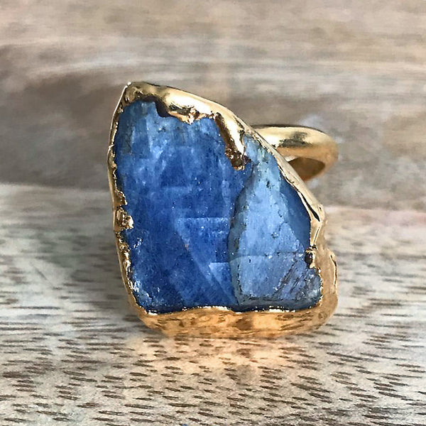 Gold plate adjustable kyanite ring, UK M - P, US 6 - 7 1/2