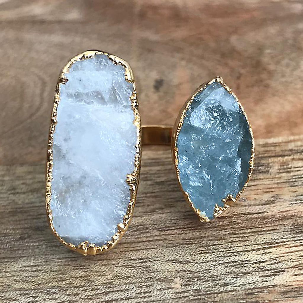 Gold plate Moonstone & Aquamarine double ring, UK M, US 6 1/2