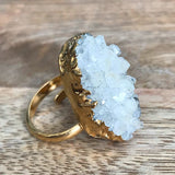 Gold plate adjustable QUARTZ ring, UK L - O, US 5 1/2 - 7 1/4