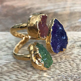 Gold plate Carnelian, Amethyst & Green Tourmaline triple ring, UK N, US 6 1/2