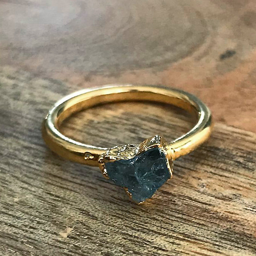 Gold Plate Aquamarine Stacking Ring, UK O US 7