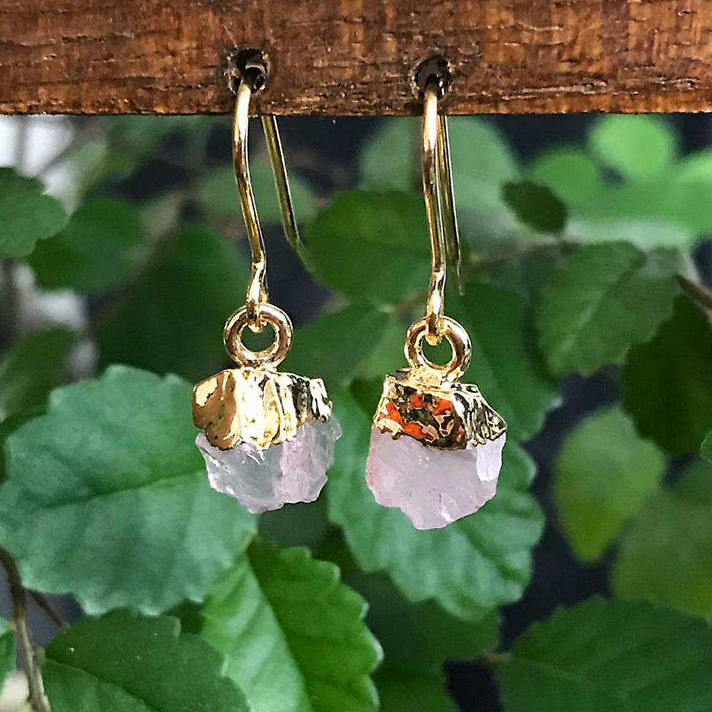 Gold Rose Quartz Raw Drop Earrings