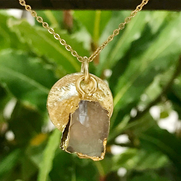 Gold Plate Rose Quartz Raw Pendant