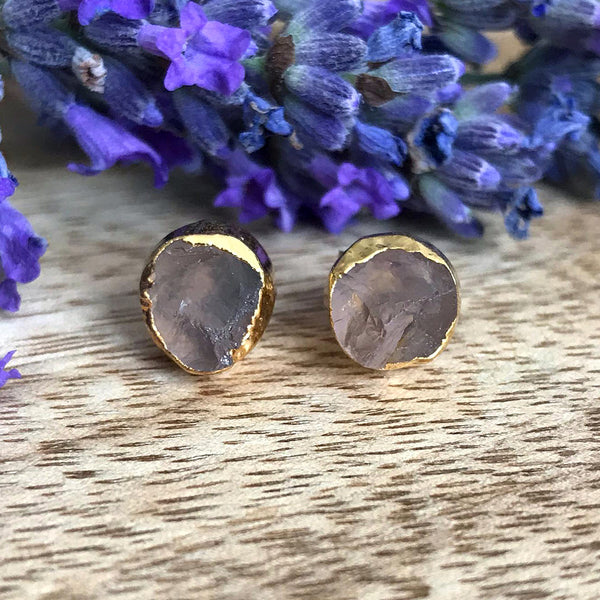 Gold Rose Quartz Infinity Stud Earrings