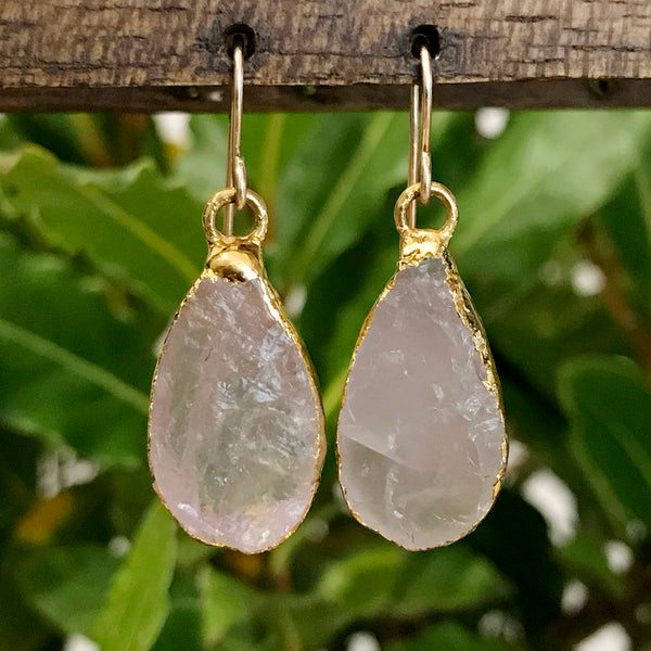 Gold Plate Rose Quartz Teardrop Earrings