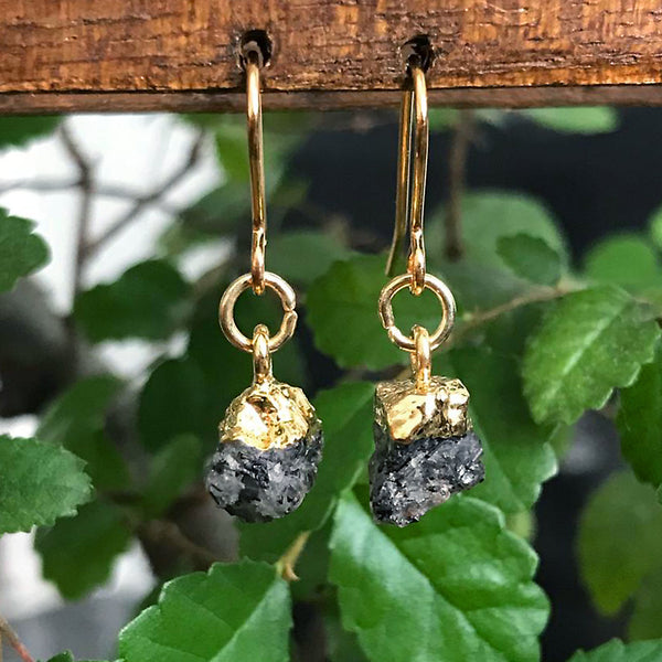 Gold Rutilated Quartz Raw Drop Earrings