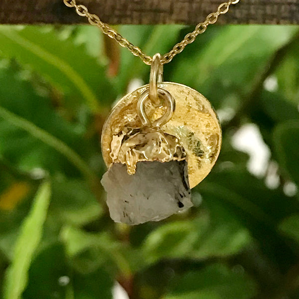 Gold Plate Rutilated Quartz Raw Pendant