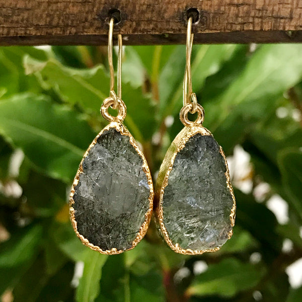 Gold Plate Rutilated Quartz Teardrop Earrings