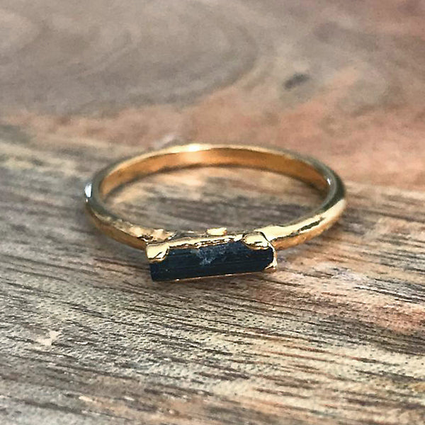 Gold Plate Black Tourmaline Stacking Ring UK L, US 5 1/2