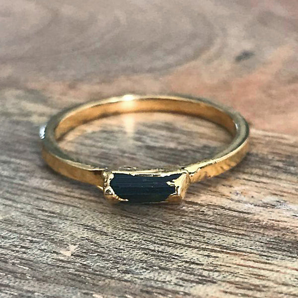 Gold Plate Black Tourmaline Stacking Ring UK P, US 7 1/2