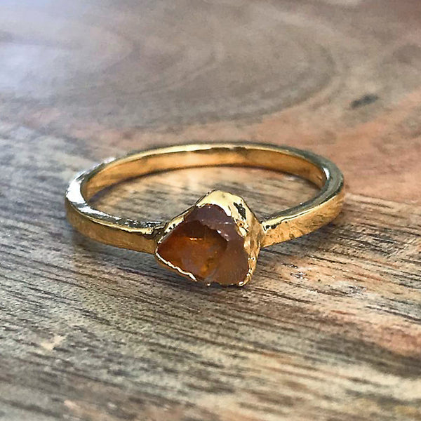 Gold Plate Citrine Stacking Ring UK P US 7 1/2