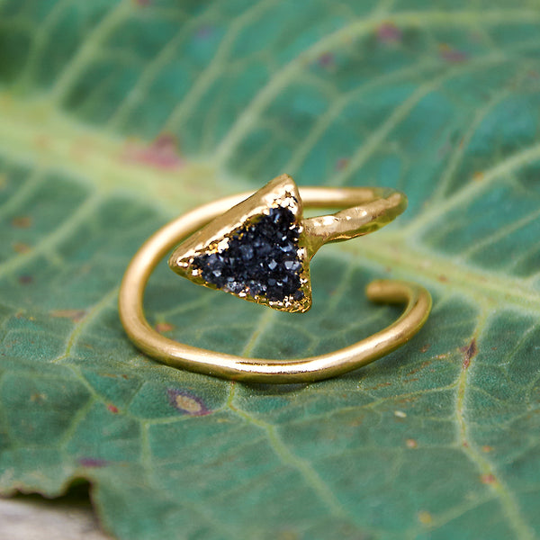Gold plate adjustable black quartz druzy triangle ring, size L-N