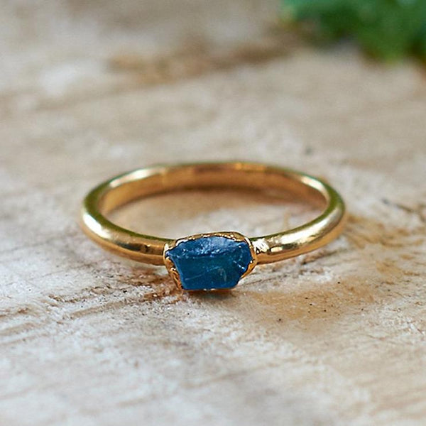 Gold Plate Apatite Stacking Ring, Size M