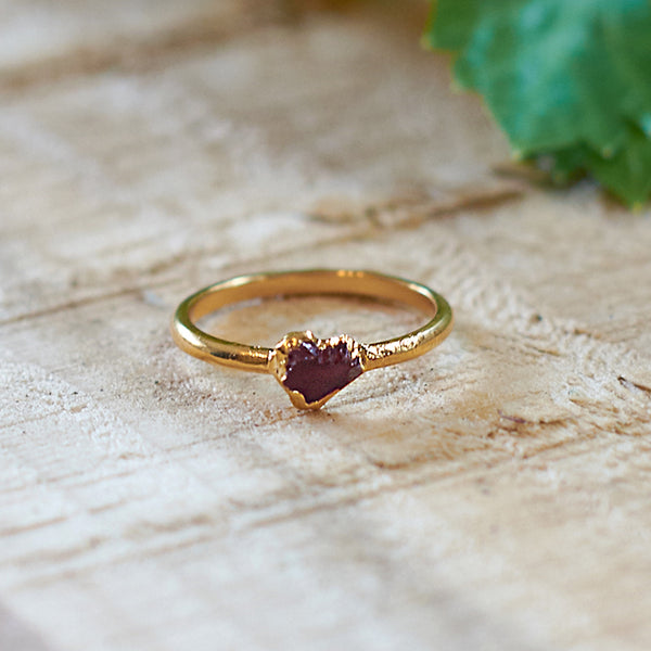 Gold plate Citrine stacking ring, Size P