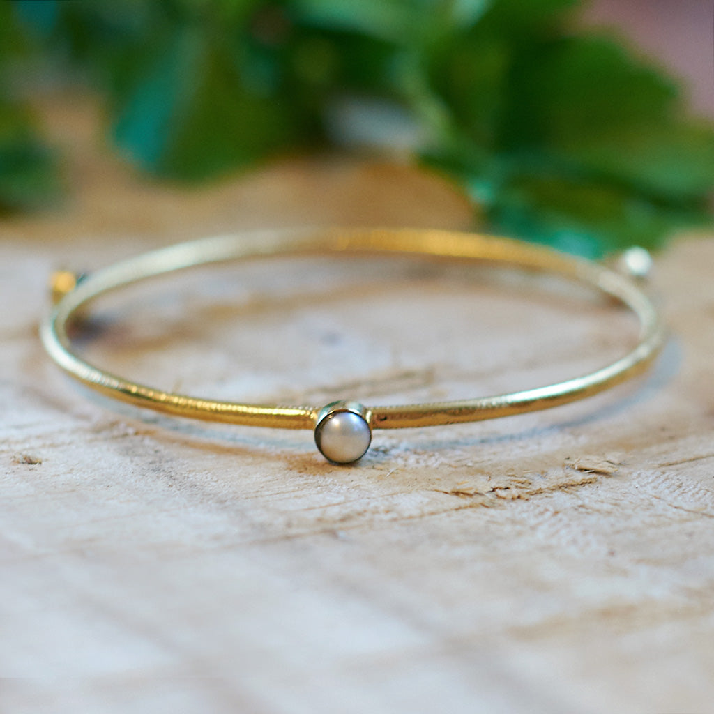 Gold plate pearl bangle