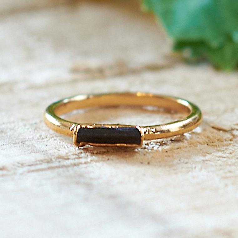 Gold Plate Emerald Stacking Ring, Size Q 1/2