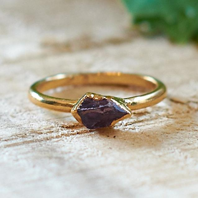 Gold Plate Amethyst Stacking Ring, Size P