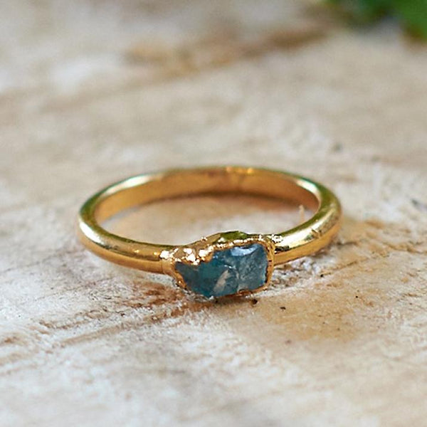Gold Plate Aquamarine Stacking Ring, Size I 1/2
