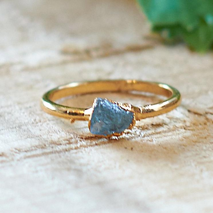 Gold Plate Aquamarine Stacking Ring, Size Q 1/2