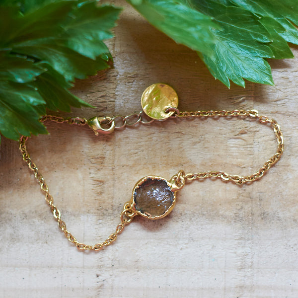 Gold Plate Smoky Quartz Bracelet