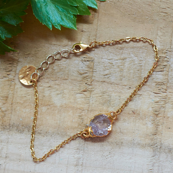 Gold Plate Rose Quartz Bracelet