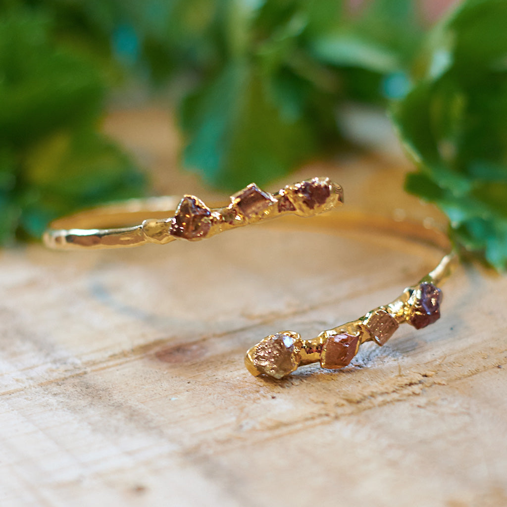 Gold plate citrine, green tourmaline, garnet and imperial topaz bangle