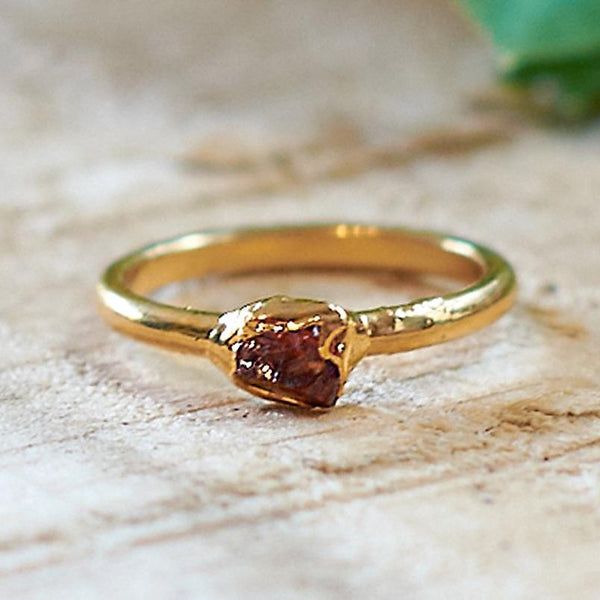 Gold Plate Citrine Stacking Ring, Size I 1/2