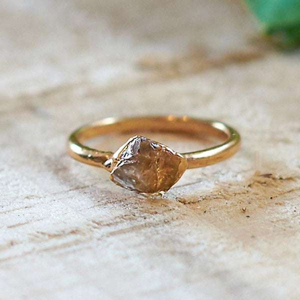 Gold Plate Citrine Stacking Ring, Size K 1/2