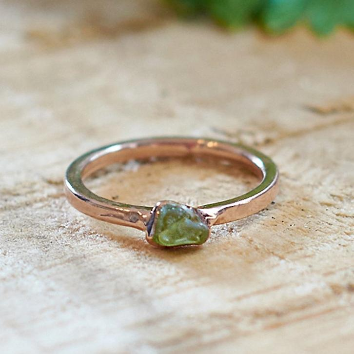 Rose Gold Plate Green Tourmaline Stacking Ring, Size O
