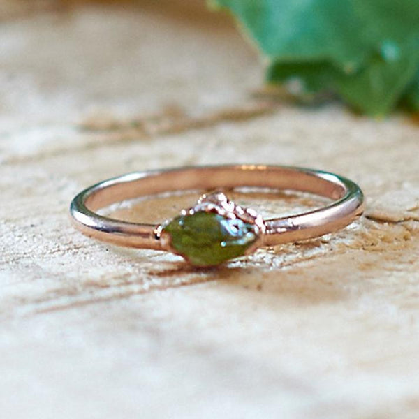 Rose Gold Plate Green Tourmaline Stacking Ring, Size R