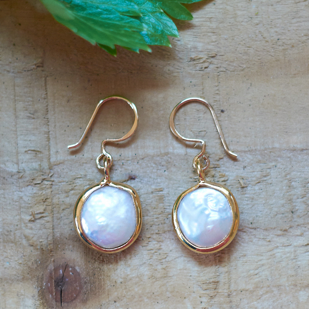 Gold Plate Freshwater Pearl Earrings