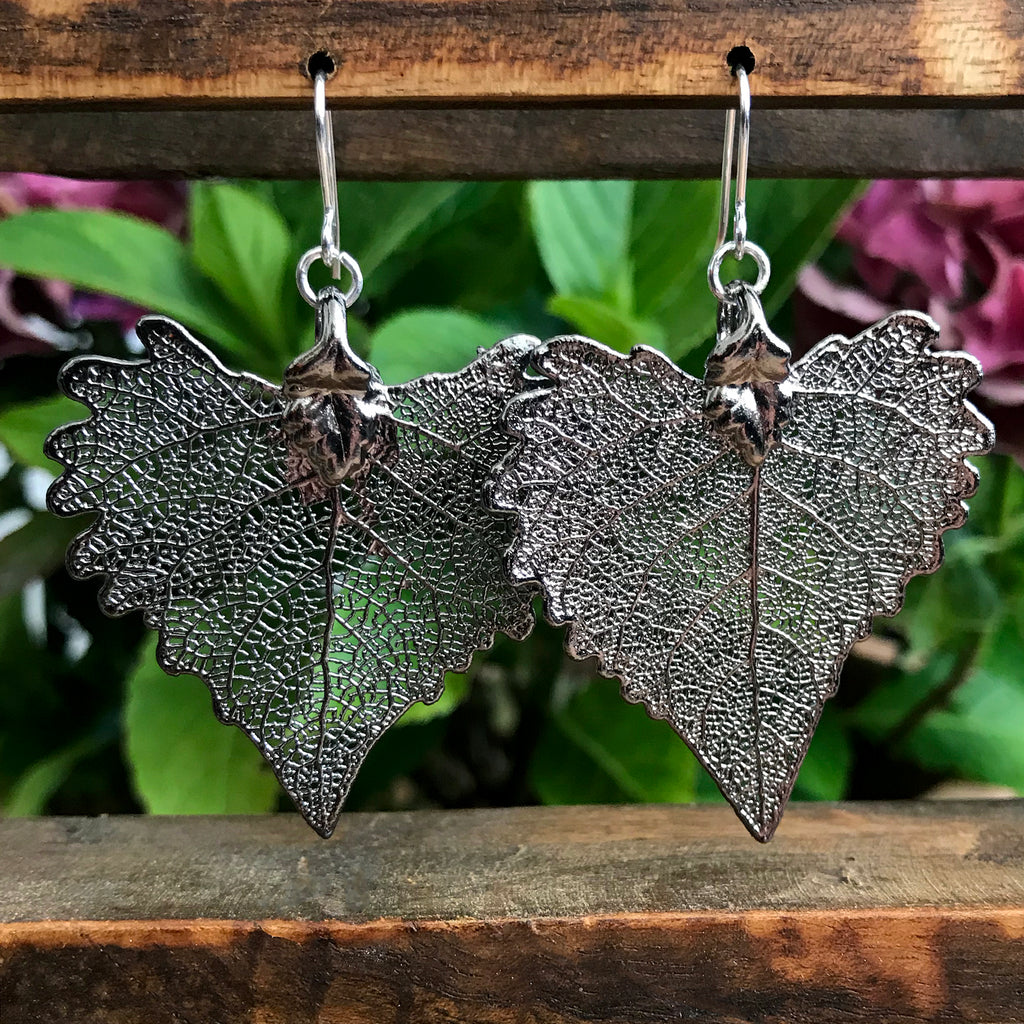 Cottonwood Platinum Leaf Earrings
