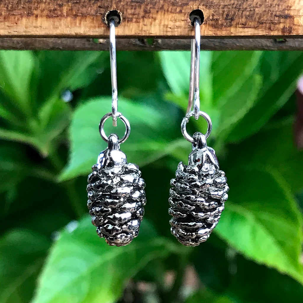 Pine Cone Platinum Earrings