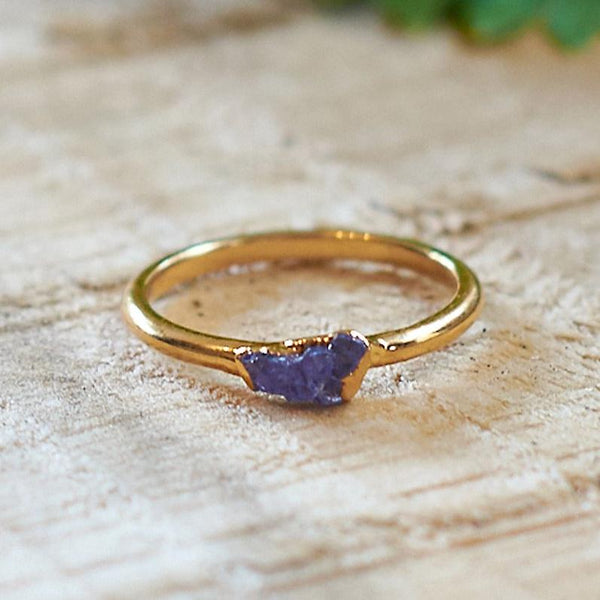 Gold Plate Fluorite Stacking Ring, Size N