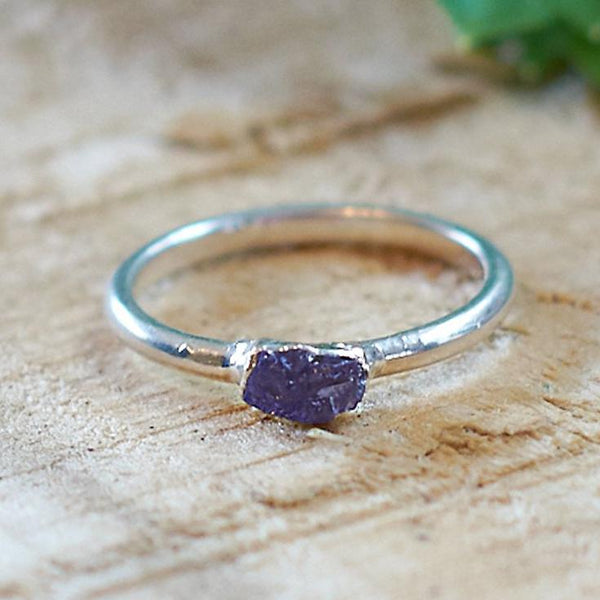 Sterling Silver Plate Purple Fluorite Stacking Ring, Size  K 1/2