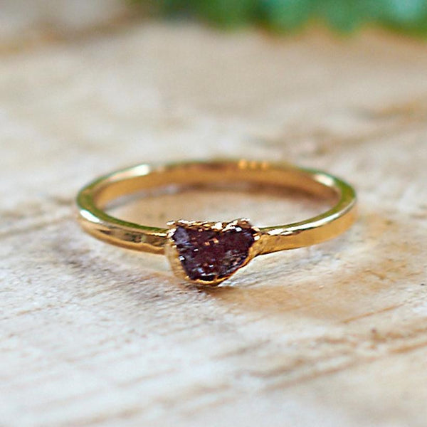 Gold Plate Garnet Stacking Ring, Size Q 1/2