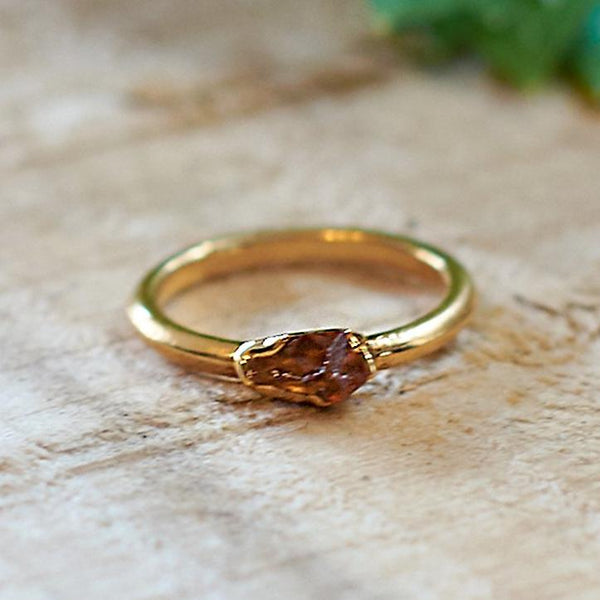 Gold Plate Citrine Stacking Ring, Size I