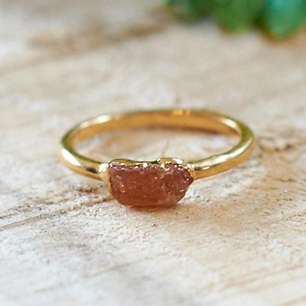 Gold Plate Citrine Stacking Ring, Size M 1/2