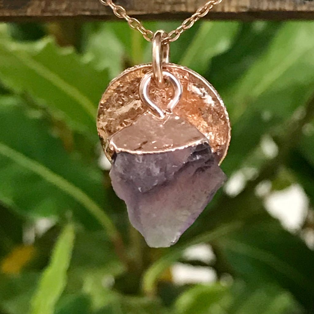 Rose Gold Plate Amethyst Raw Pendant