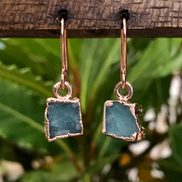 Rose Gold Amazonite Raw Drop Earrings